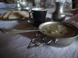 Soup and bread served at the Grandchamps eatery at fo