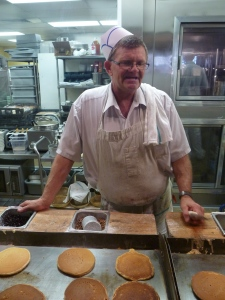 Thomas Sutton has been cooking pancakes at The Pancake Pantry for 37 years.