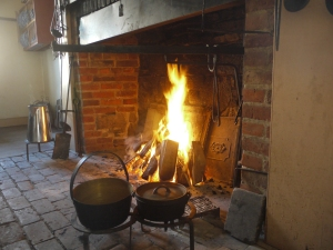 The open hearth fireplace in the Officers Mess Kitchen at Fort York