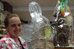 I LOVE CHOCOLATE owner Krista Byers stands beside the mold used to make the giant  Easter rabbit in her chocolate shop in Fergus, Ontario