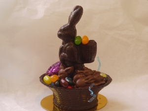 I LOVE CHOCOLATE  - A Belgian Chocolate Easter basket and bunny with eggs