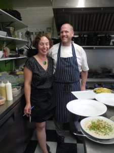 Sarah Griebel and Andrew Aitken in the busy kitchen at Wild Caraway in Advocate,Nova Scotia.