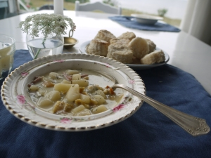 Peter's chowder made with clams fresh from the Nova Scotia sand bars.