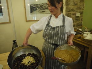 Chef Catherine Metcalfe prepares ingredients for one of her Christmas recipes.