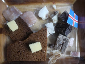 Viking Starter tray including fermented shark and sheep's testicles.