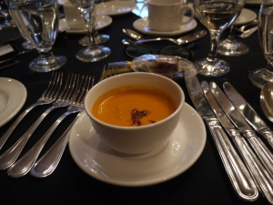 Roasted Simcoe, Ontario, tomato soup with crisp Pingue