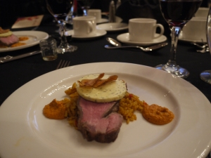 Veal striploin, saffron rice, romesco sauce, lemon, homegrown sage butter